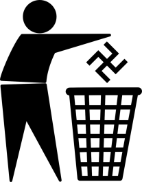 Piktogramm: Person wirft Hakenkreuz in Mülleimer