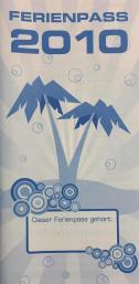 Ferienpass von 2017, DIN lang Format, blaue Palmen